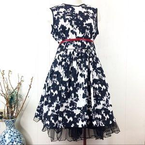 Red Saks Fifth Avenue Black & White Splatter Dress